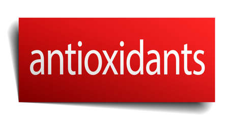antioxidants: antioxidants red paper sign isolated on white
