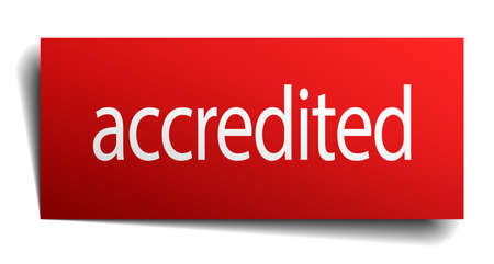 accredited: accredited red paper sign isolated on white Illustration