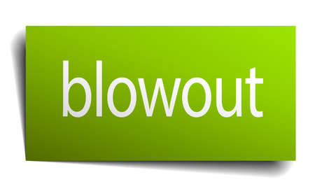 blowout: blowout green paper sign on white background Illustration