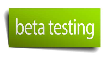 tester: beta testing green paper sign on white background Illustration