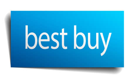 best buy: best buy blue square isolated paper sign on white