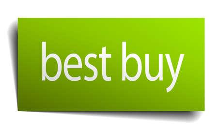 best buy: best buy green paper sign on white background Illustration