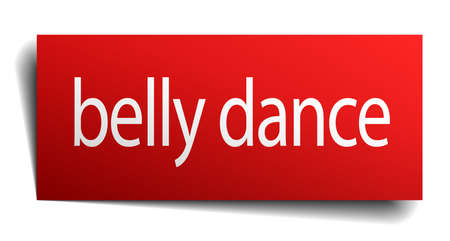 belly button: belly dance red paper sign isolated on white