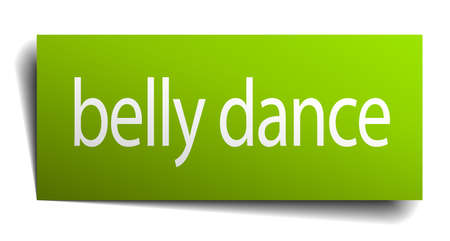 belly button: belly dance green paper sign on white background Illustration