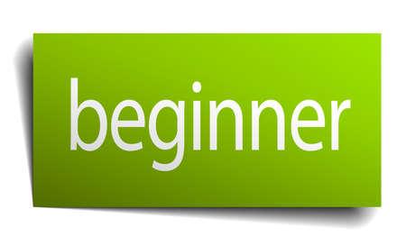 beginner: beginner green paper sign on white background Illustration