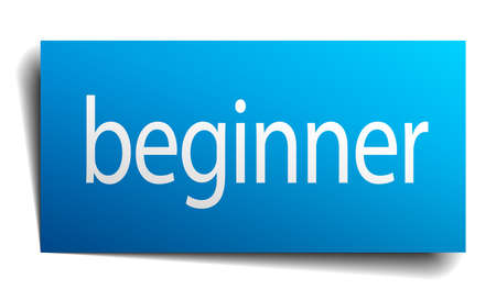 beginner: beginner blue square isolated paper sign on white