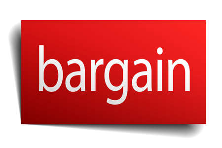 bargain: bargain red paper sign isolated on white
