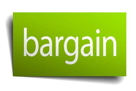 bargain: bargain green paper sign on white background