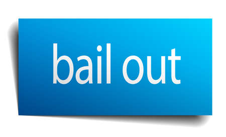 isolated paper: bail out blue square isolated paper sign on white