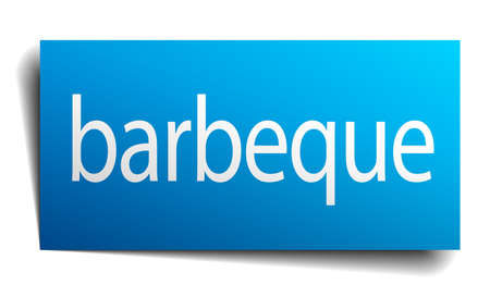 isolated paper: barbeque blue square isolated paper sign on white Illustration