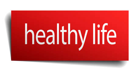 isolated paper: healthy life red square isolated paper sign on white Illustration