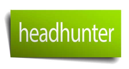 headhunter: headhunter carta verde segno isolato su bianco Vettoriali