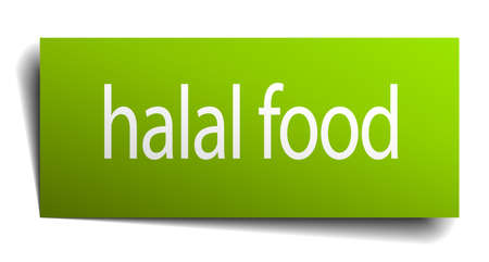 green paper: halal food green paper sign isolated on white