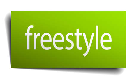 freestyle: freestyle green paper sign isolated on white