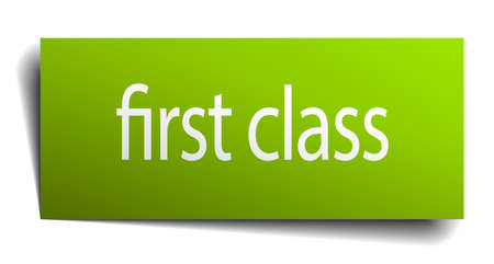 first class: first class green paper sign isolated on white Illustration