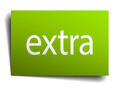 extra: extra green paper sign isolated on white