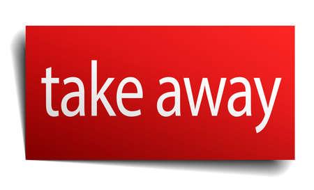 take away: take away red paper sign on white background