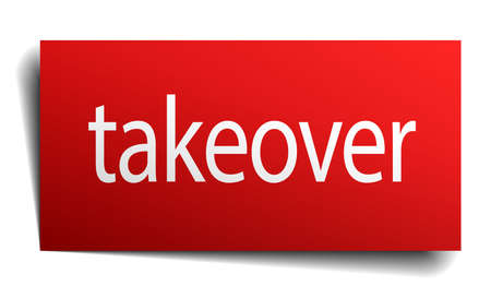 takeover: takeover red paper sign on white background