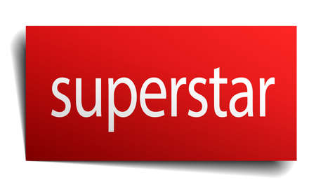 superstar: superstar red paper sign isolated on white