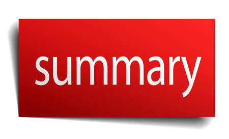 summary: summary red paper sign isolated on white