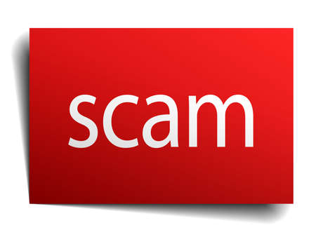 scam: scam red paper sign isolated on white Illustration