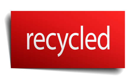or recycled: recycled red paper sign on white background Illustration