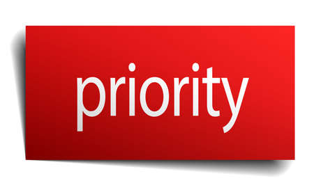 priority: priority red paper sign on white background