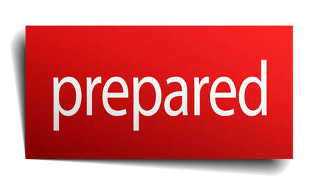 prepared: prepared red paper sign on white background Illustration