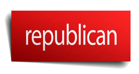 republican: republican red paper sign on white background Illustration