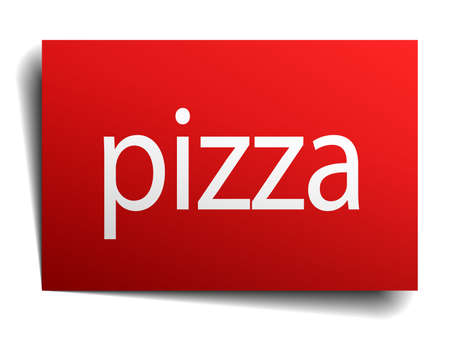 isolated paper: pizza red square isolated paper sign on white Illustration