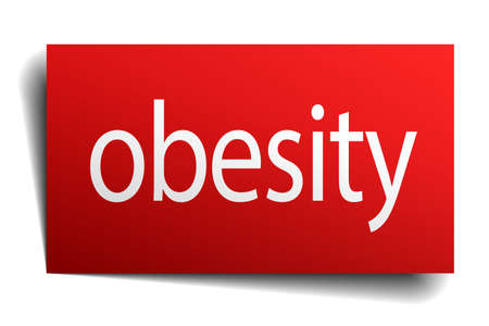 obesity: obesity red square isolated paper sign on white