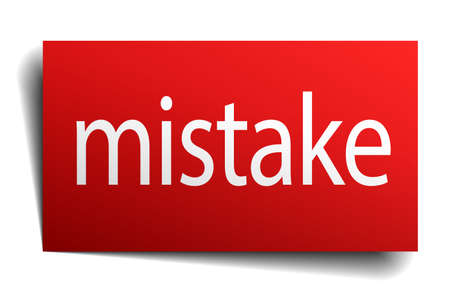 mistake: mistake red square isolated paper sign on white