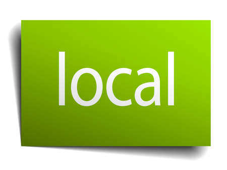 local: local green paper sign on white background
