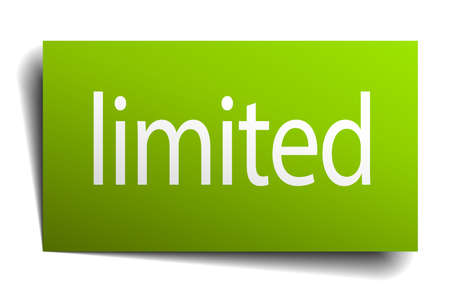 limited: limited green paper sign on white background Illustration