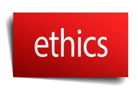 ethics: ethics red square isolated paper sign on white