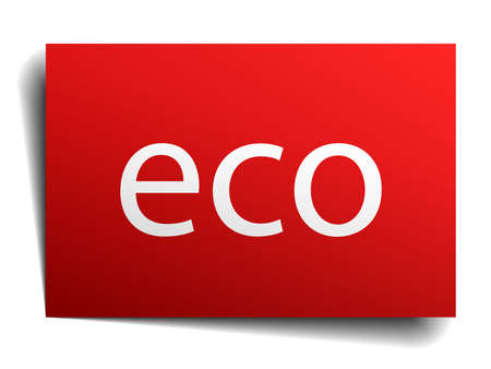 eco notice: eco red square isolated paper sign on white