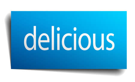 isolated paper: delicious blue square isolated paper sign on white Illustration