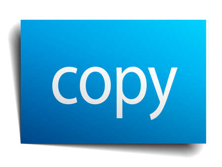 isolated paper: copy blue square isolated paper sign on white Illustration