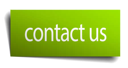 green paper: contact us green paper sign on white background