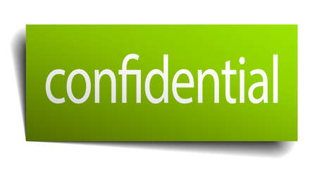 green paper: confidential green paper sign on white background
