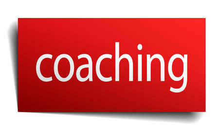 coaching: coaching red paper sign isolated on white