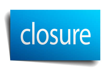 closure: closure blue square isolated paper sign on white