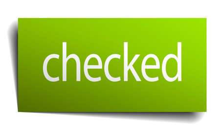checked: checked green paper sign on white background Illustration