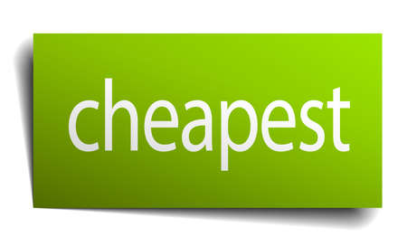 cheapest: cheapest green paper sign on white background