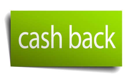 cash back: cash back green paper sign on white background