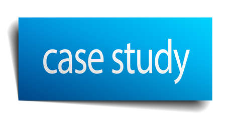 paper case: case study blue square isolated paper sign on white