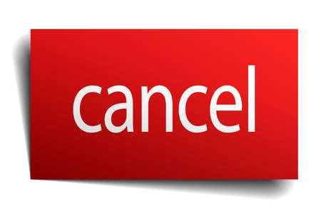 cancel red paper sign isolated on white