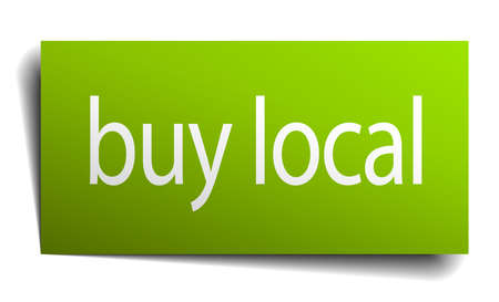 buy local: buy local green paper sign on white background