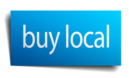 buy local: buy local blue square isolated paper sign on white