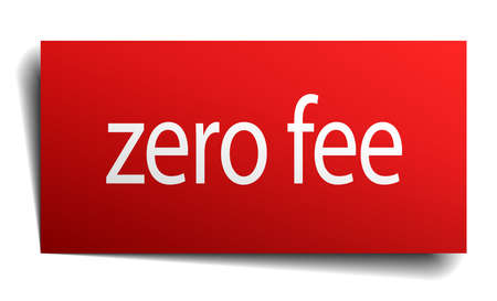 fee: zero fee red square isolated paper sign on white Illustration